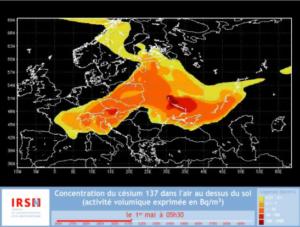 3.A csernobili radioaktív felhő útja Európában április 26 - május 10-ig, animáció