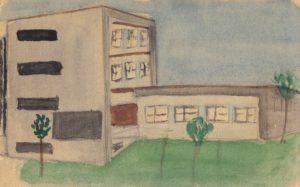 """Az egykori Acsády Ignác úti általános Iskola ( Kiss Magdolna iskolai vízfestménye,1969) Jelenleg bővítés és felújítás után az Országos Horvát Önkormányzat által fenntartott többcélú közoktatási intézményként, mint a """"Miroslav Krleza"""" Horvát Óvoda, Általános Iskola, Gimnázium és Kollégium működik"""