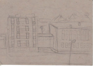 Uránváros, a munkásszálló középső és nyugati részének fele, Kiss Magdolna rajza 1971-ből