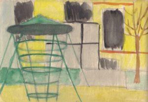 Uránváros, játszótér (Kiss Magdolna iskolai vízfestménye 1968-ból