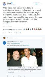 Schwarzenegger about Hollywoodproducer Vajna